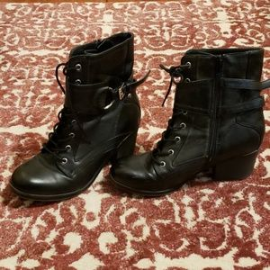 Guess Black black boots with silver buckles